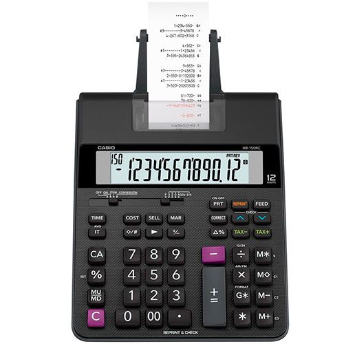 Calculadora Casio 12 Dig Com Bobina e Display Led Preta HR-150RC
