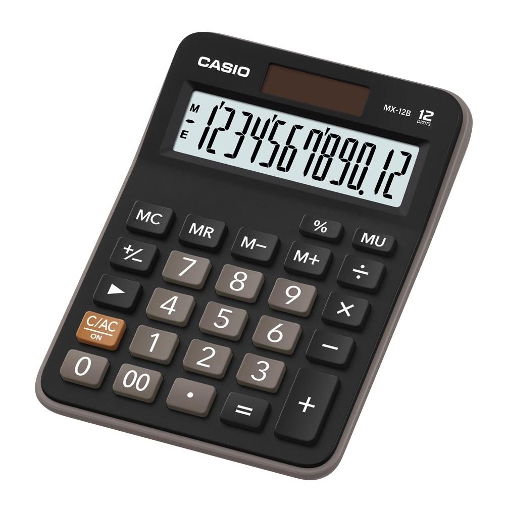 Calculadora Prática de Mesa Casio MX-12B Preta 12 Dígitos Solar