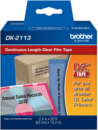 Etiqueta Brother DK-2113 Filme Transparente 62mm x 15m