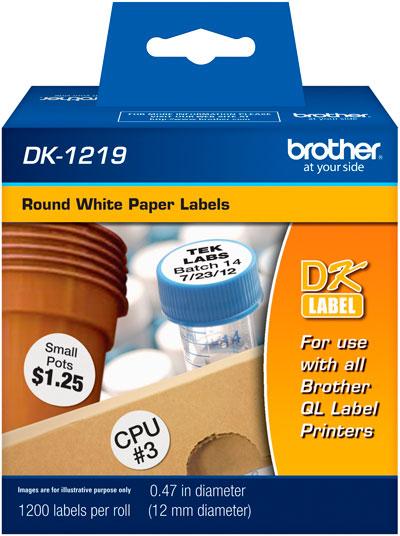 Etiqueta Brother DK-1219 Redonda 12mm Diâmetro
