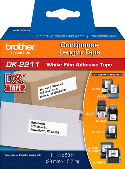 Etiqueta Brother DK-2211 Filme Branco 29mm x 15m
