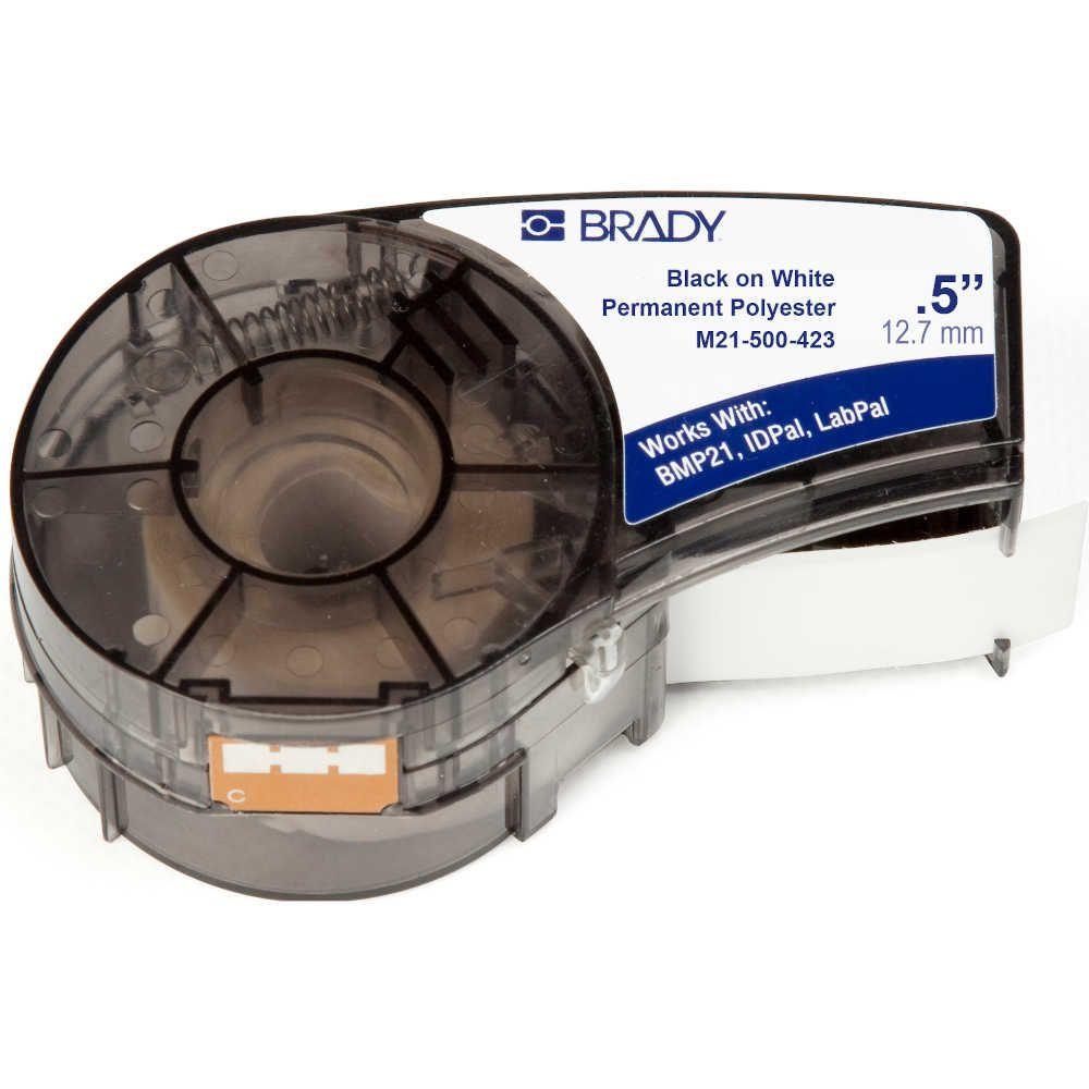 Fita Brady M21-500-423 12mm Poliéster Preto/Branco BMP21