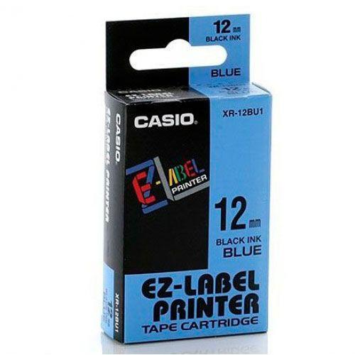 Fita Casio XR-12BU1 12mm, 8m Preto no Azul Para KL