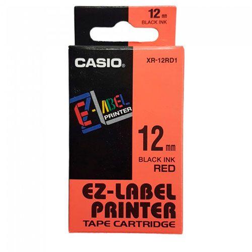 Fita Casio XR-12RD1 12mm, 8m Preto no Vermelho Para KL