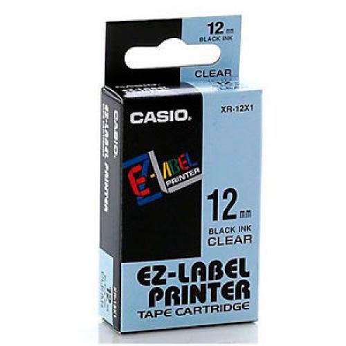Fita Casio XR-12RX1 12mm, 8m Preto no Azul Claro Para KL