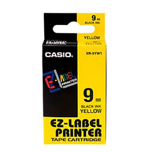 Fita Casio XR-9YW1 9mm, 8m Preto no Amarelo Para KL