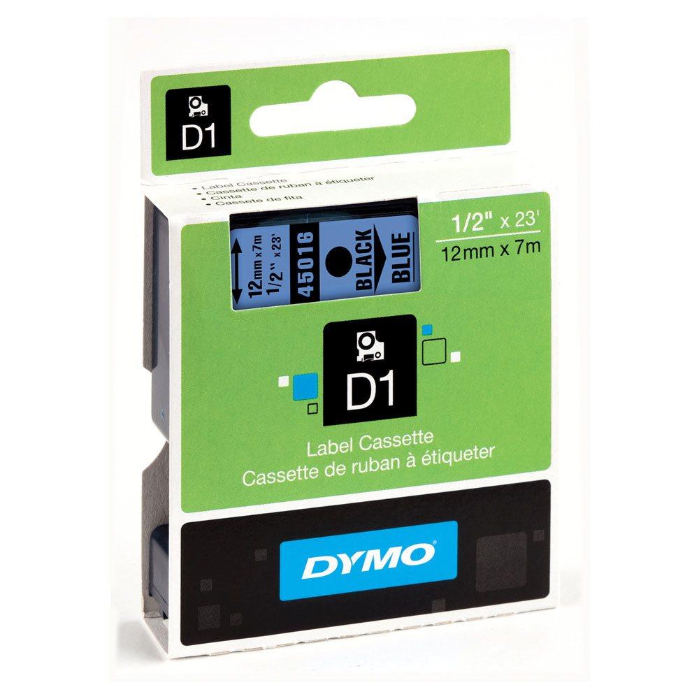 Fita D1 Poliéster Dymo 12mm - Preto Sobre Azul (45016)