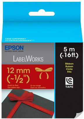 Fita Rotulador Epson LC-4RKK5 12mm Cetim Ouro/Vermelho