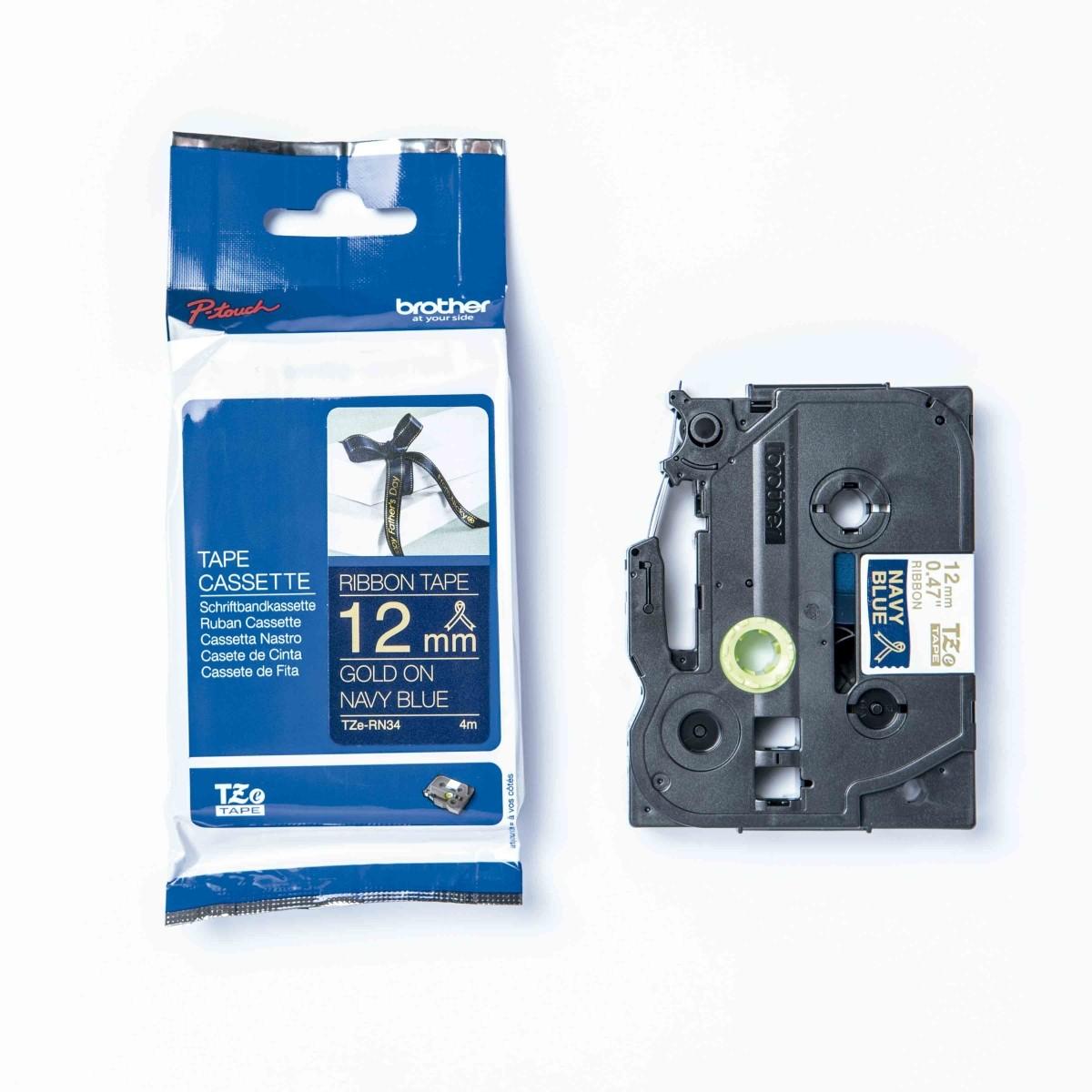 Fita Decorativa P-touch TZe-RN34 Dourado Sobre Azul Marinho 12mm