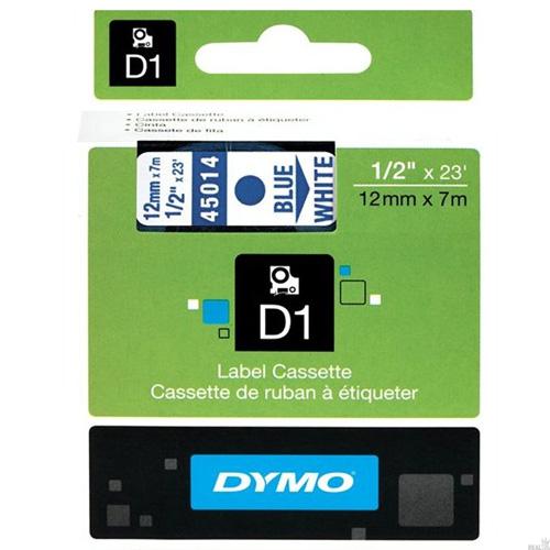 Fita Dymo D1 45014 Poliéster 12mm Azul/Branco