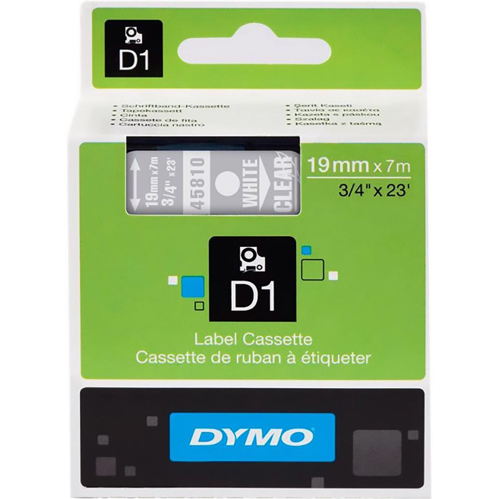 Fita Dymo D1 45810 Poliéster 19mm Branco/Transparente