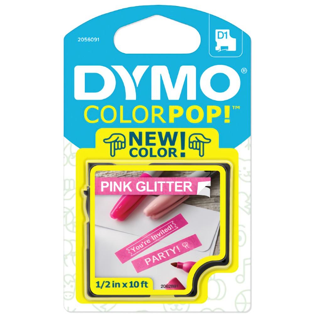 Fita Dymo D1 ColorPop 12mm Rosa com Glitter