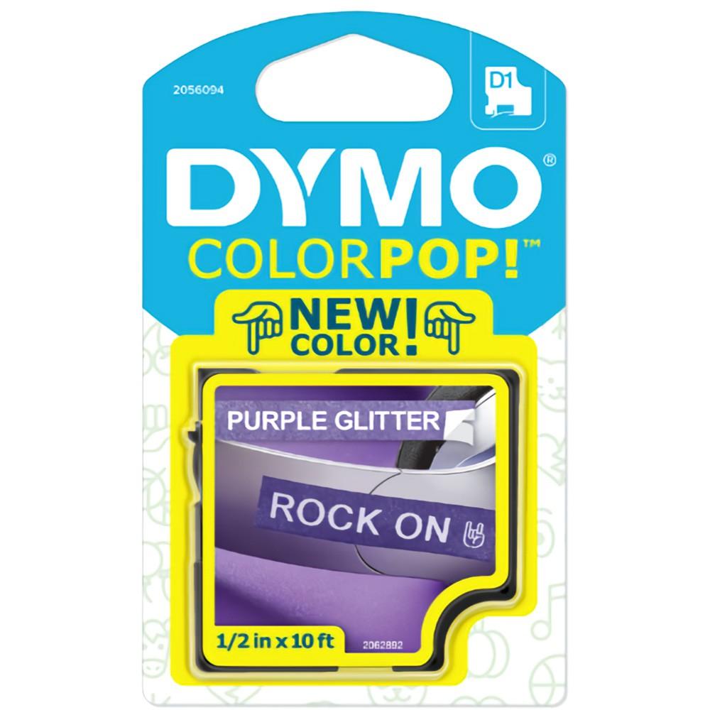 Fita Dymo D1 ColorPop 12mm Roxo com Glitter