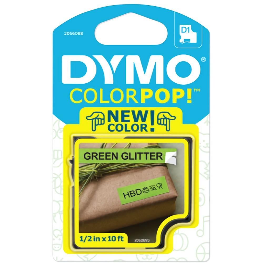 Fita Dymo D1 ColorPop 12mm Verde com Glitter