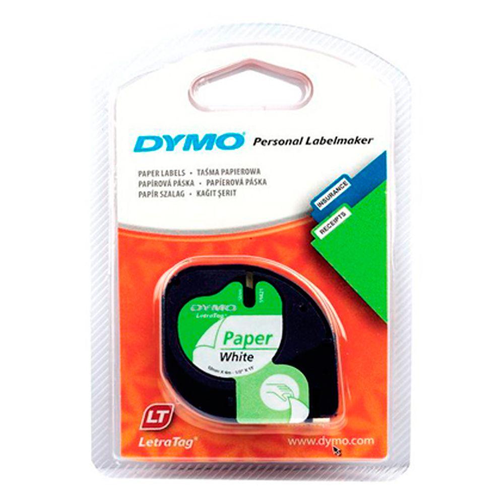 Fita Dymo Letratag 10697 Papel 12mm Blister 2un