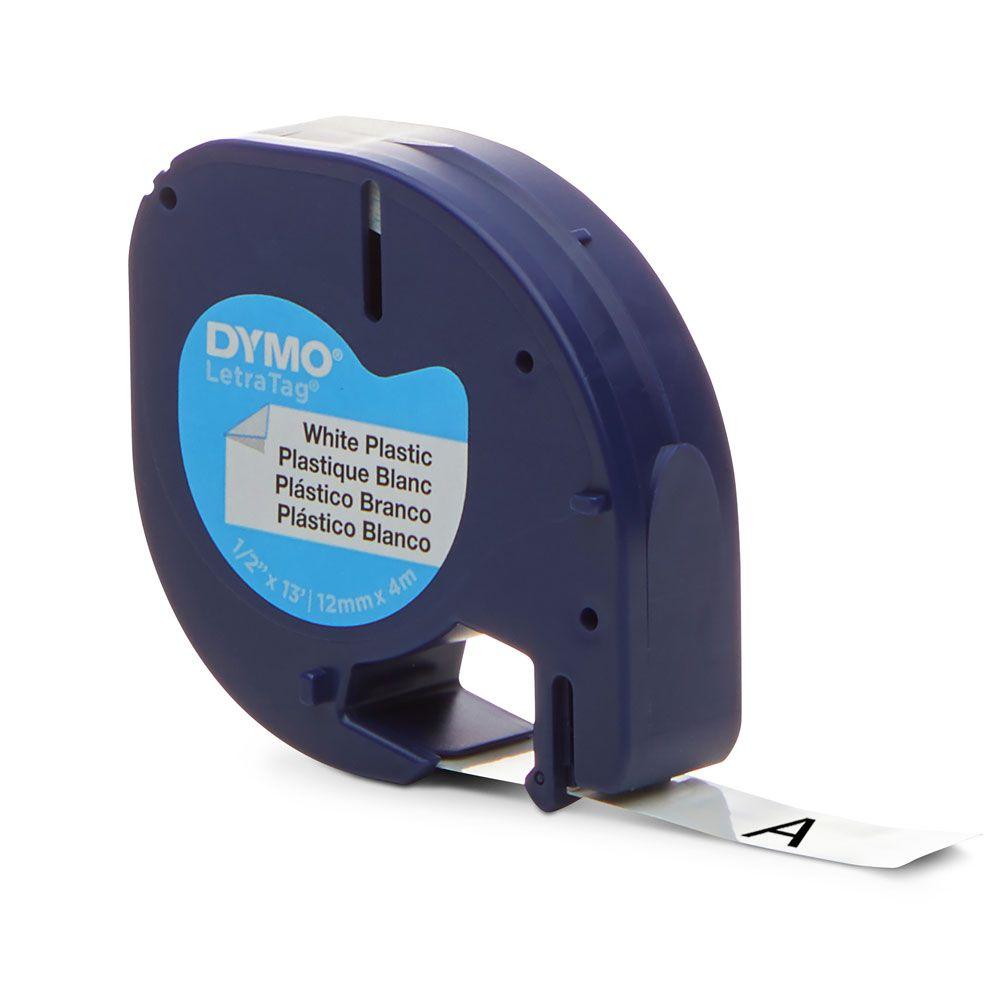 Fita Dymo Letratag 91331 Poliéster 12mm Preto/Branco