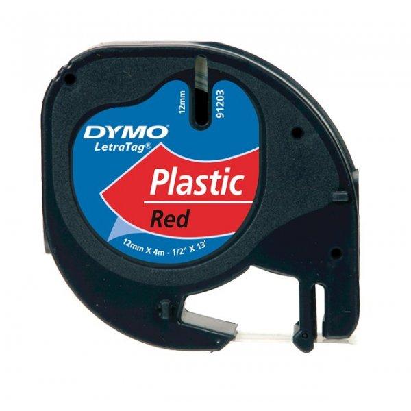Fita Dymo Letratag 91333 Poliéster 12mm Preto/Vermelho