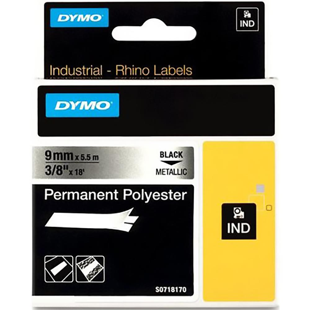 Fita Dymo Poliéster 9mm Preto/Prata Rhino 18485
