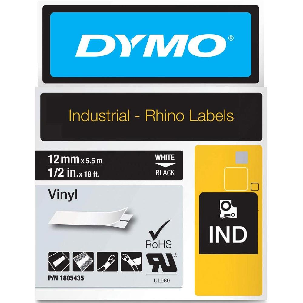 Fita Dymo Vinil 12mm Branco/Preto 1805435 Rhino