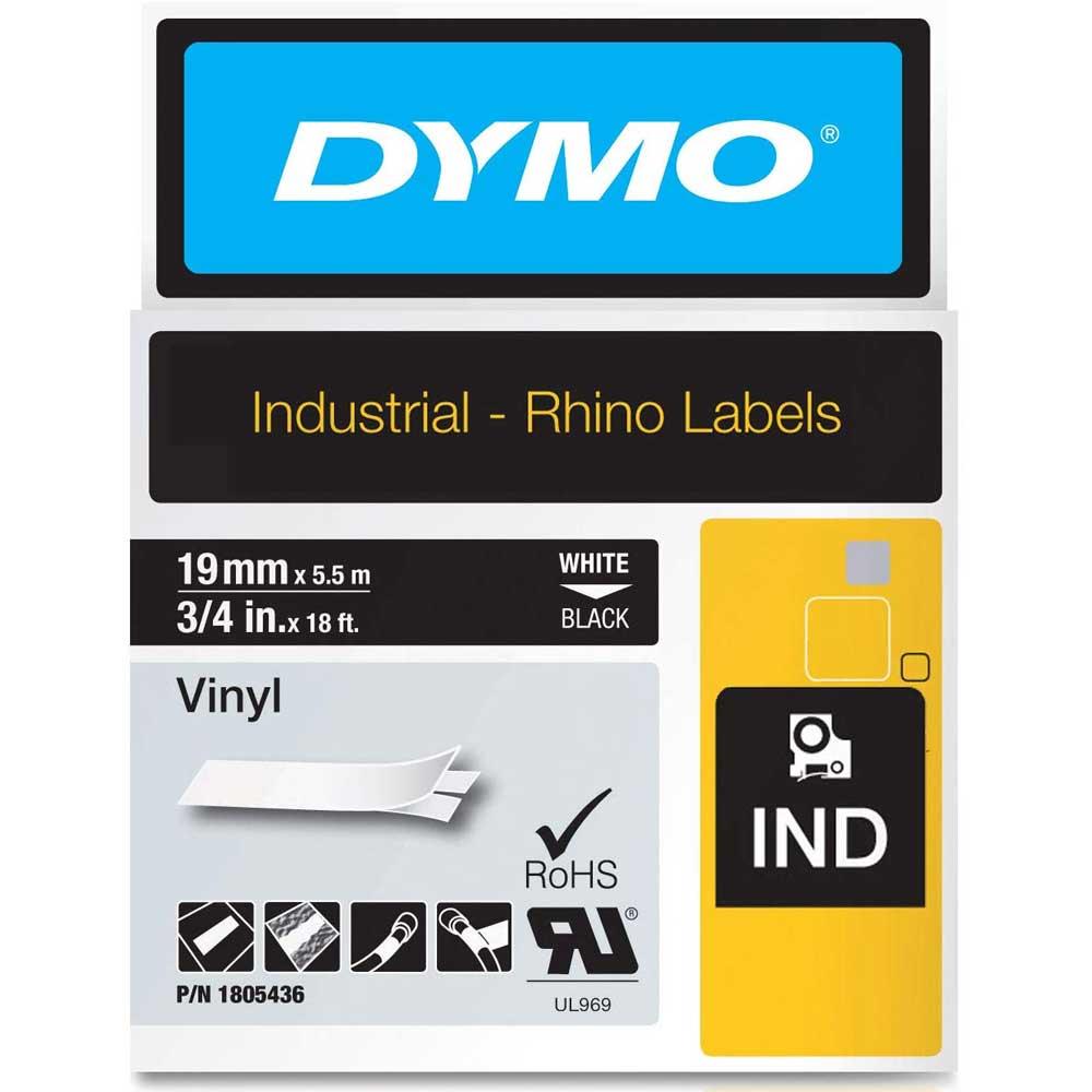 Fita Dymo Vinil 19mm Branco/Preto Rhino 1805436
