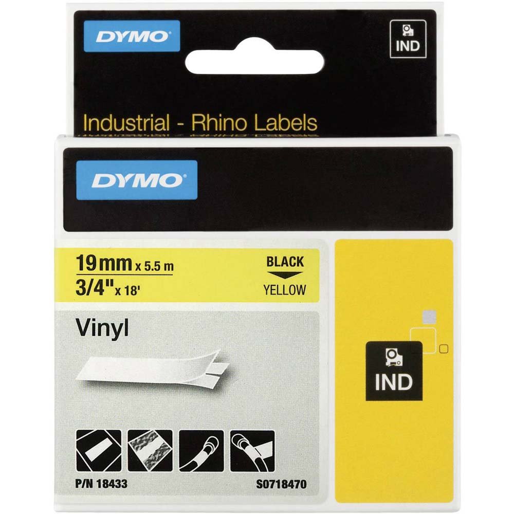 Fita Dymo Vinil 19mm Preto/Amarelo 18433 Rhino