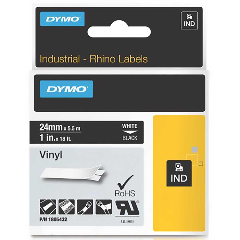 Fita Dymo Vinil 24mm Branco/Preto Rhino 1805432