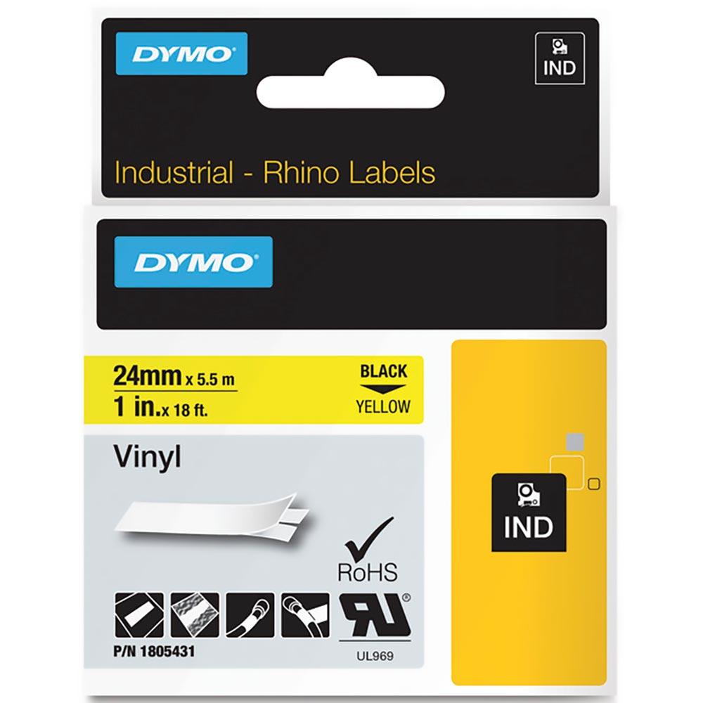 Fita Dymo Vinil 24mm Preto/Amarelo 1805431 Rhino