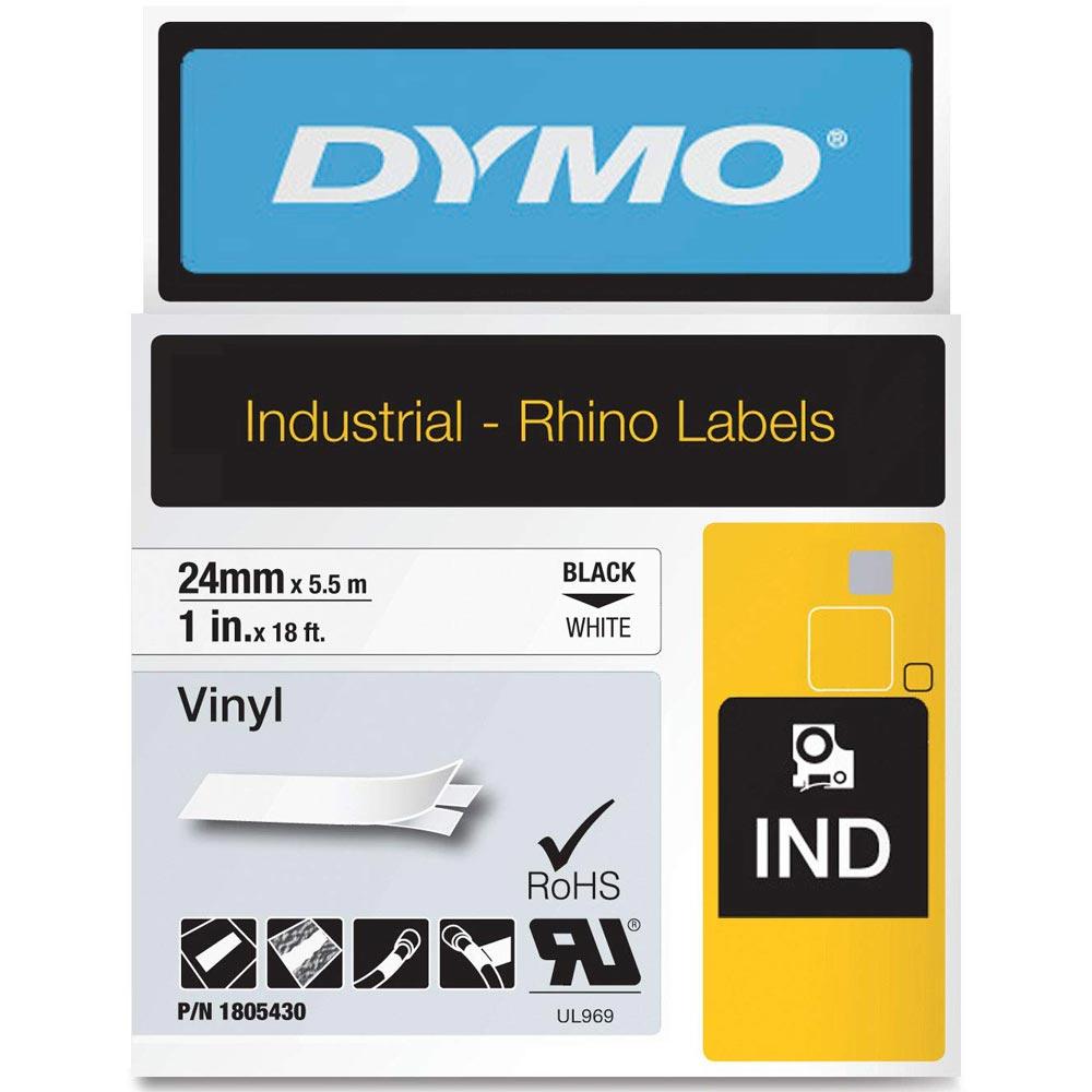 Fita Dymo Vinil 24mm Preto/Branco 1805430 Rhino