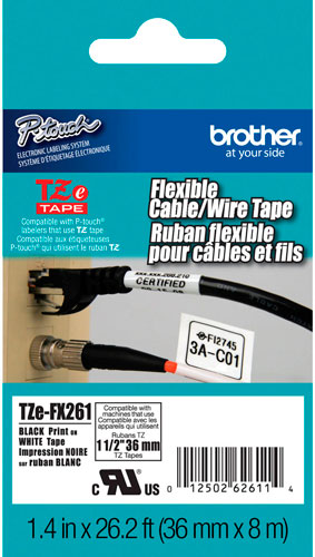 Fita p/ Rotulador Brother 36mm TZEFX-261 Preto/Branco Cabos e Fios