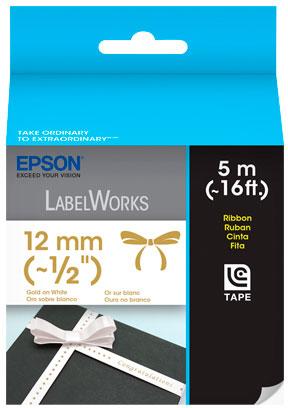 Fita Rotulador Epson LC-4WKK5 12mm Cetim Ouro/Branco