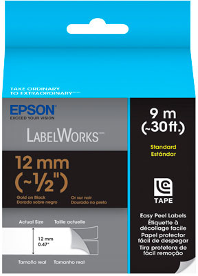 Fita Rotulador Epson LC-4BKP9 12mm Dourado/Preto