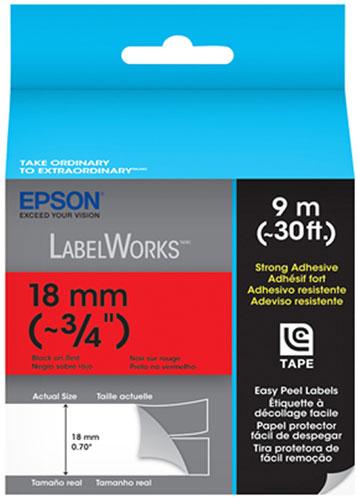 Fita Rotulador Epson LC-5RBW9 18mm Preto/Vermelho