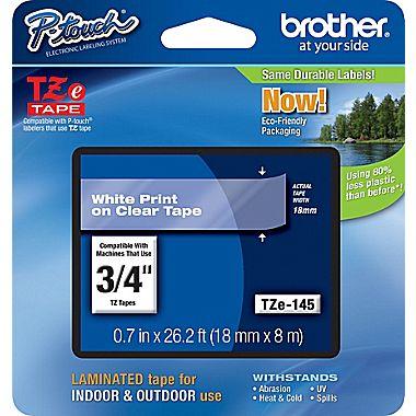 Fita Rotulador Brother Tze-145 18mm Branco/Transparente