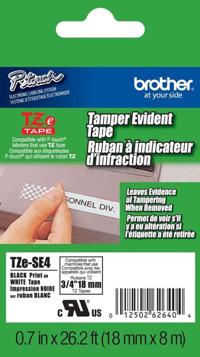 Fita Rotulador Brother TZE-SE4 18mm Preto/Branco Segurança Void