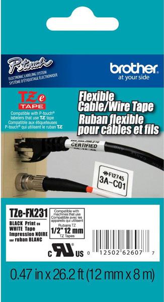 Fita Rotulador Brother TZEFX-231 12mm Preto/Branco Cabos e Fios