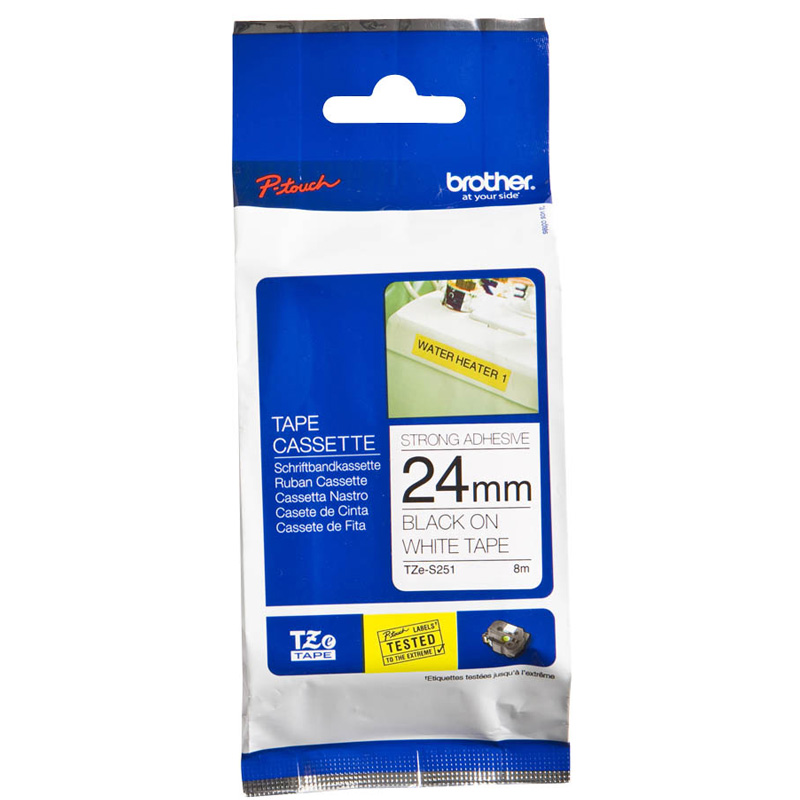 Fita Rotulador Brother TZES-251 24mm Preto/Branco Extra Forte