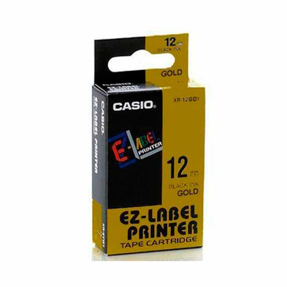 Fita Rotulador Casio XR-12GD1 12mm Preto/Dourado KL60 KL120
