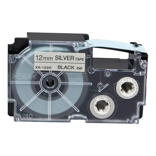 Fita Rotulador Casio XR-12SR1 12mm Preto/Prateado