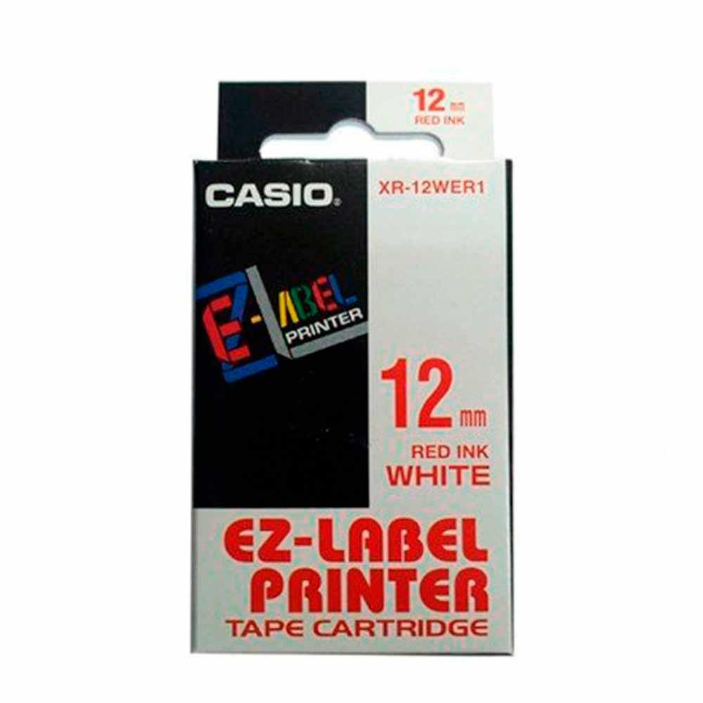 Fita Rotulador Casio XR-12WER1 12mm Vermelho/Branco KL60 KL120
