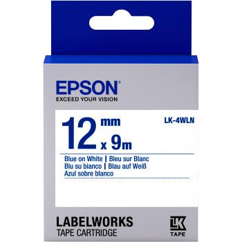 Fita Rotulador Epson LK-4WLN 12mm Azul/Branco