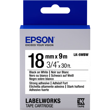 Fita Rotulador Epson LK-5WBW 18mm Preto/Branco