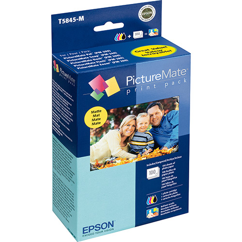Kit Cartucho e Papel Epson T5845 PictureMate PM225 Matte