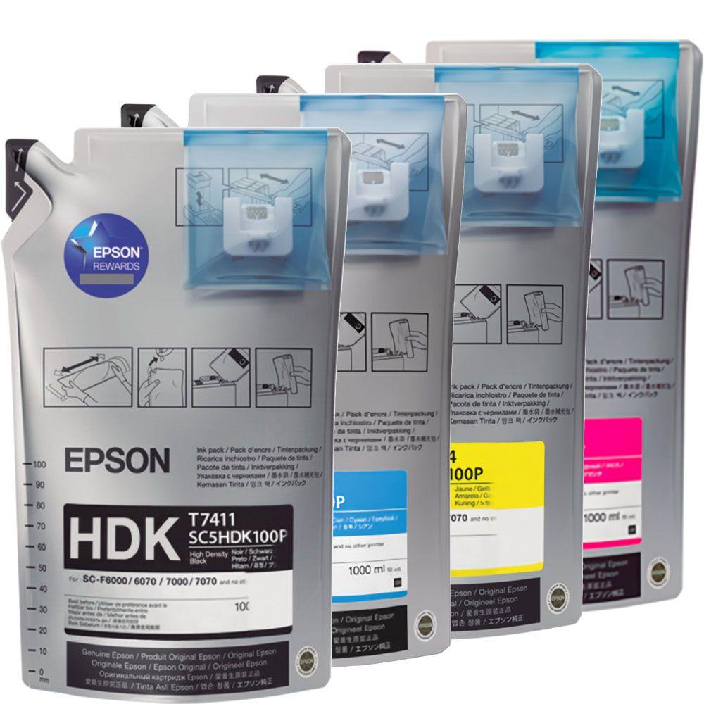 Kit De Tintas CMYK T741 Epson Sublimação Preto HDK