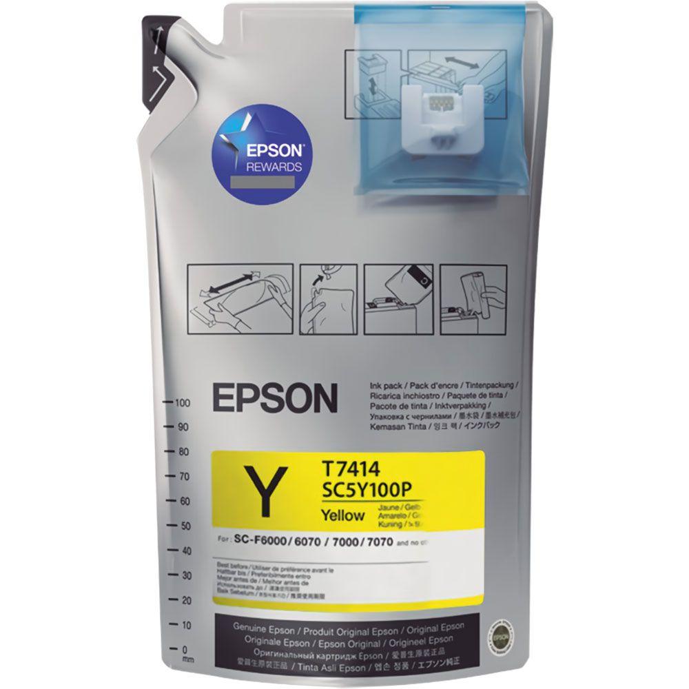 Tinta Sublimática Epson T741 Amarelo Para F6070 F9370