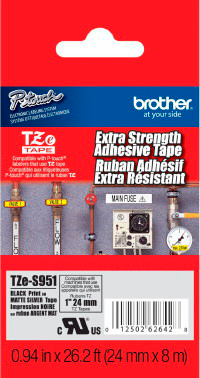 Fita Rotulador Brother TZES-951 24mm Preto/Prateado Extra Forte