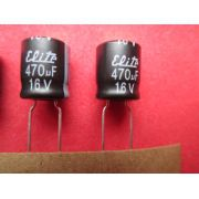 CAPACITOR ELETROLÍTICO RADIAL 470uF X 16V 105º C DIAM. 8 MM X COMPR. 9 MM KIT 50 PÇS