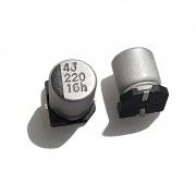 CAPACITOR ELETROLÍTICO - SMD, 220uF, 16V, 6,3 x 7,7mm KIT C/ 20 PÇS