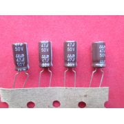 KIT 25 PÇS CAPACITOR ELETROLÍTICO RADIAL 47uF X 50V 105º C 305A DIAM. 6,3 COMPR. 12,5 MM