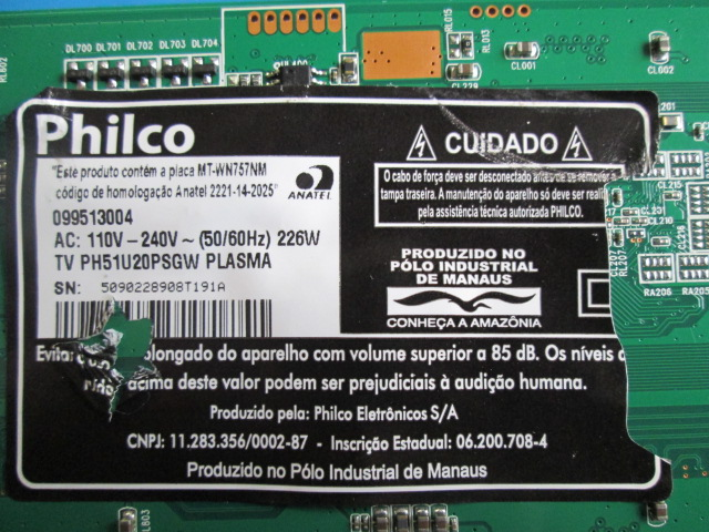 PLACA T-CON PHILCO MODELO PH51C20PSG / PH51U20PSGW CÓDIGO JUQ7.820.00077135 V4.0