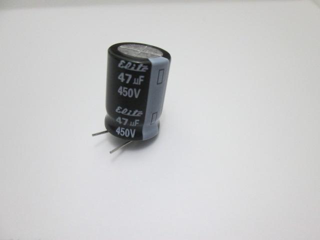 CAPACITOR ELETROLÍTICO RADIAL ELITE 47UF 450V 105º PACOTE COM 5 UNIDADES
